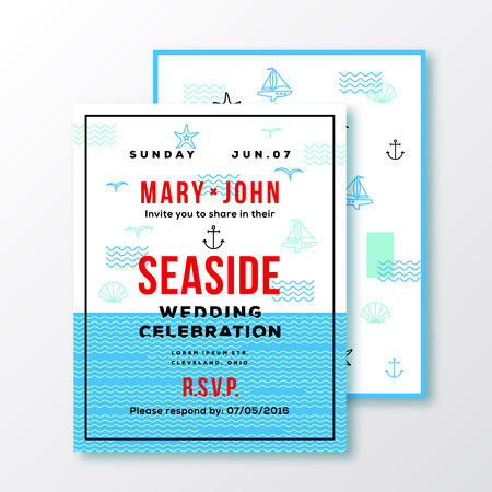 sea side: Sea Side Wedding Invitation Card or Ticket Template. Modern Typography and Nautical Symbols on Background. Red, Blue, White Colors. Isolated.
