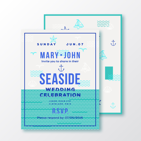 sea side: Sea Side Wedding Invitation Card or Ticket Template. Modern Typography and Nautical Symbols on Background. Green, Blue, White Colors. Soft Realistic Shadows. Isolated. Illustration