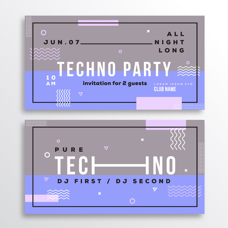 soft colors: Night Techno Party Club Invitation Card or Flyer Template. Modern Abstract Flat Swiss Style Background with Decorative Elements and Typography. Pink, Violet Colors. Soft Realistic Shadows. Isolated.