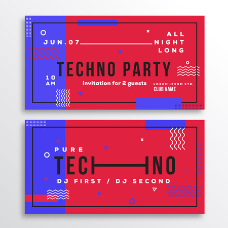 soft colors: Night Techno Party Club Invitation Card or Flyer Template. Modern Abstract Flat Swiss Style Background with Decorative Elements and Typography. Red, Blue Colors. Soft Realistic Shadows. Isolated. Illustration