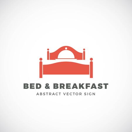 breakfast in bed: Bed and Breakfast Abstract Vector Sign. Dish Cover Negative Space Symbol Incorporated in Sleep Icon. Isolated.