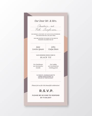 classy: Vector Wedding Invitation Template. Modern Typography and Pastel Colors. Classy Design Card with Soft Realistic Shadow. Isolated.