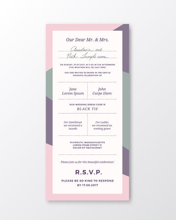 Vector wedding invitation template modern typography and pastel vector vector wedding invitation template modern typography and pastel violet pink colors classy design card with soft realistic shadow isolated stopboris Gallery