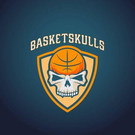 darck: Basket Skulls Abstract Vector Basketball Logo Template. Sport Team or Championship Emblem. University League Sign. On Darck Background.