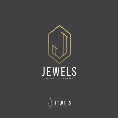 incorporated: Jewels Abstract Vector Logo Template. Hand Drawn Letter J Incorporated in a Diamond or Crystal Shape. Golden Gradient and Modern Typography. On Dark Background. Horizontal, Vertical Versions.