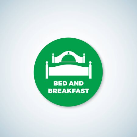 breakfast in bed: Bed and Breakfast Vector Sticker. Dish Cover Negative Space Symbol Incorporated in Sleep Icon. Isolated.
