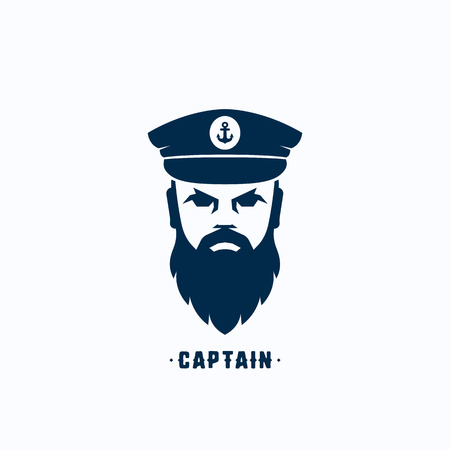 seaman: Captain Face Silhouette  Template. Seafarer Symbol. Skipper in a Hat Emblem. Bearded Seaman Head Sign. Isolated.