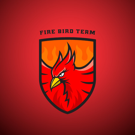 heraldic symbols: Bird in a Shield Emblem or Template. Fire Phoenix Illustration. Perfect for Sport Team, League Labels. On Red Background. Illustration