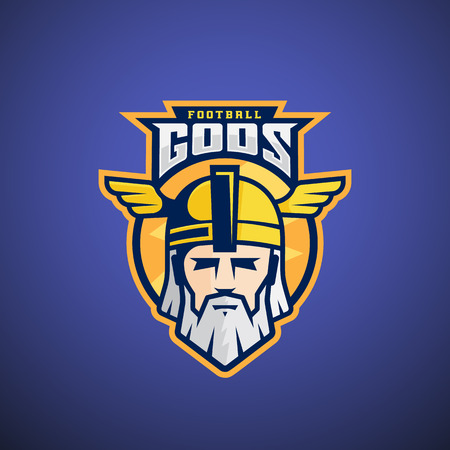 odin: Football Gods Sport Team or League Template. Odin Face with Typography. Mighty Warrior Head in a Helmet Mascot. On Dark Blue Background.