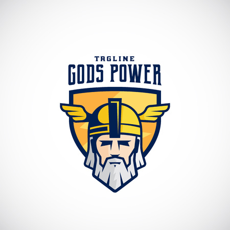 odin: Gods Power Sport Team or League Template. Odin Face in a Shield, with Typography. Mighty Warrior Head in Helmet Mascot. Isolated.