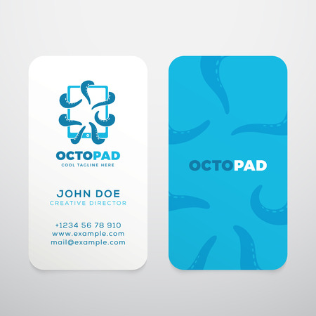 graphic display cards: Abstract  with Business Card Template or Mock-up. Octopus Tentacles Holding a Touchscreen Tablet. Modern Typography and Realistic Soft Shadows. Isolated.