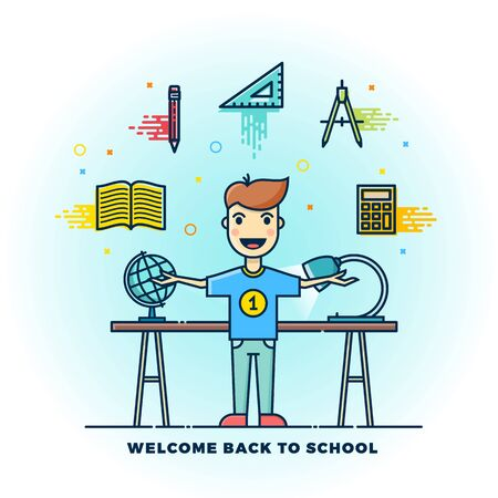 standing lamp: Welcome Back to School Line Style Flat Illustration. Stationary Icons. Boy Standing at the Desk with Lamp and Globe. Isolated. Illustration