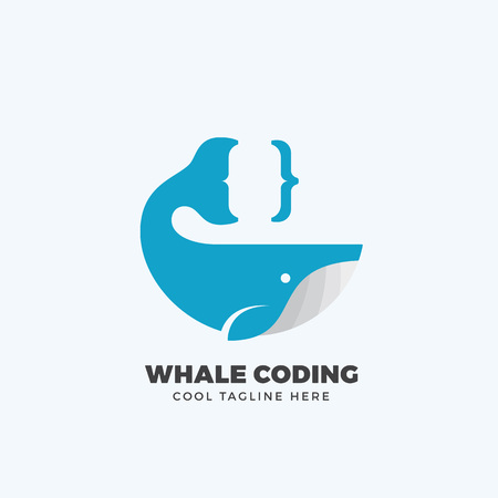 curly tail: Whale Coding Abstract Emblem, Label, Template. Tail as a Curly Brace Concept Symbol or Icon. Flat Style Silhouette. Isolated.