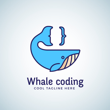 brace: Whale Coding Abstract Emblem, Label, Template. Tail as a Curly Brace Concept Symbol or Icon. Line Style Design. Isolated. Illustration