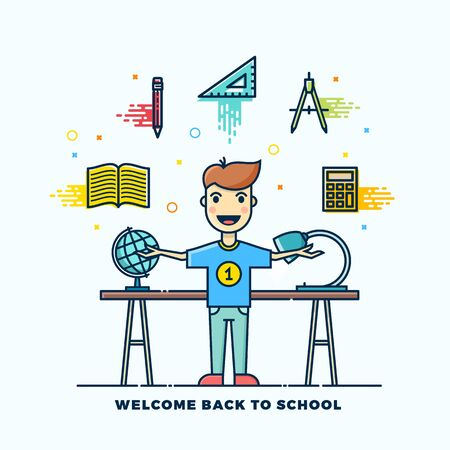 standing lamp: Back to School Line Style Flat Illustration. Stationary Icons. Boy Standing at the Desk with Lamp and Globe. Isolated.
