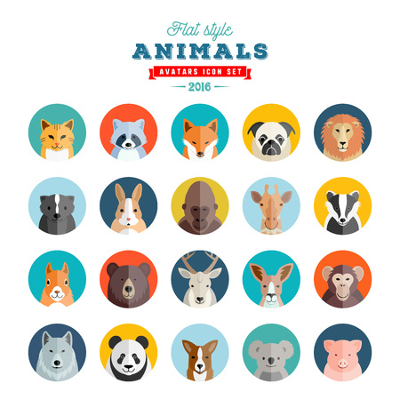 Flat Style Animals Avatar Vector Set. Twenty Icons. Isolated.