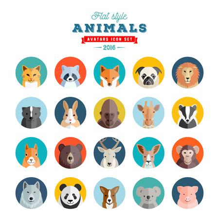 Flat Style Animals Avatar Vector Set. Twenty Icons. Isolated.