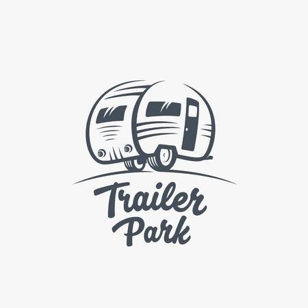 Trailer lub Van Park VectorTemplate. Sylwetka Turystyka Ikona. Etykieta z retro Typografia. Odosobniony.