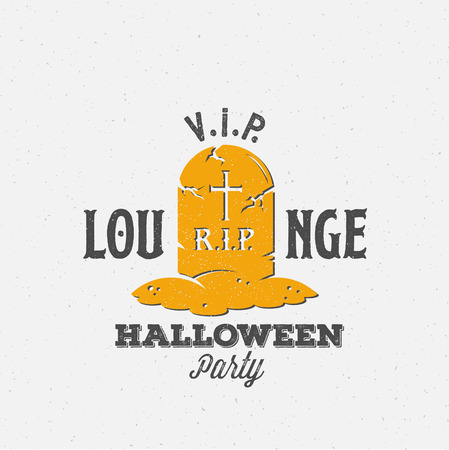 grave stone: Lounge Halloween Party Label Template. Grave with a Tomb Stone Symbol and Retro Typography. Shabby Textures. Isolated.