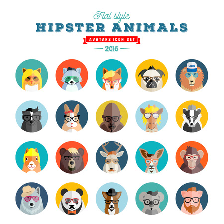 Flat Style Hipster Animals Avatar Vector Icon Set for Social Media or Web Site. Fauna Portraits. Mammals Faces. Isolated.