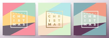 classy: Merry Christmas Abstract Minimalistic Vector Cards Set. Modern Typography and Soft Realistic Shadows. Isolated. Illustration