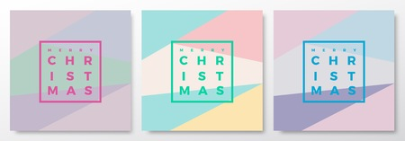 soft colors: Merry Christmas Abstract Minimalistic Vector Cards Set. Modern Typography, Pastel Colors and Soft Realistic Shadows. Isolated.