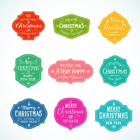 bright christmas tree: Vintage Typography Bright Color Cute Christmas Vector Badges, Labels or Stickers Set. Retro Shapes With Candle, Star, Gift, Tree, and Borders. Isolated. Illustration