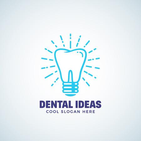 Dental Ideeën Abstract Vector Logo Template met moderne typografie. Tand en Gloeilamp Concept Label. Stomatology Business of Clinic Emblem. Tandheelkunde Icon. Geïsoleerd.