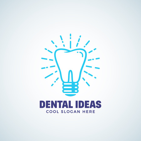 Dental Ideas Abstract Vector Logo Template with Modern Typography. Tooth and Light Bulb Concept Label. Stomatology Business or Clinic Emblem. Dentistry Icon. Isolated.