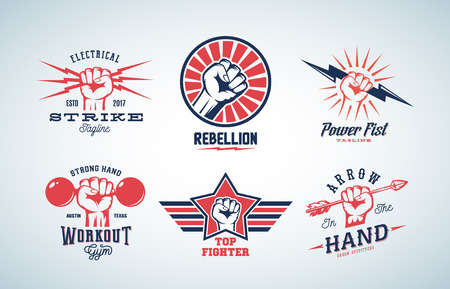 Abstract Vector Fists Logo Set. Different Concepts with Hand Emblem or Sign. Retro Style and Typography. Isolated. Imagens - 67576295