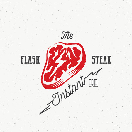 meat steak: The Flash Instant Steak Abstract Retro Vector Emblem, Label or Logo Template. Meat with a Lightning Concept Illustration, Vintage Typography and Shabby Texture. Isolated.