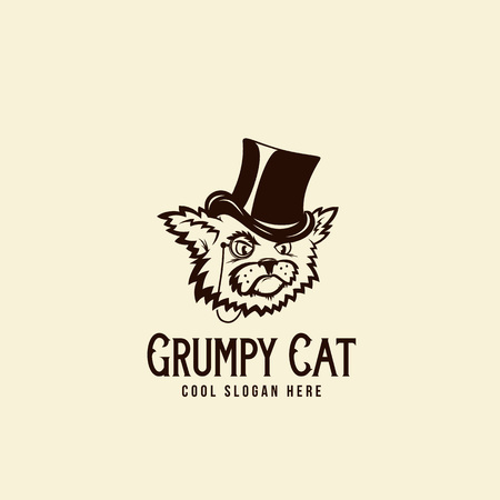 riches: Grumpy Rich Cat in a Cillinder. Abstract Vintage Vector Sign, Symbol or Logo Template with Retro Typography. Isolated.