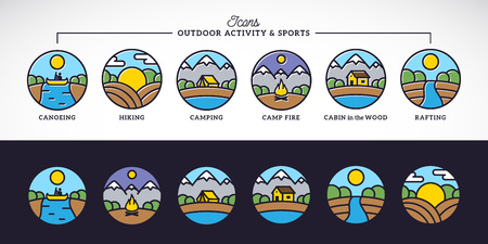 sports activity: Outdoor Activity and Sports Line Style Vector Icons Set with Typography. Isolated.