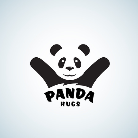 Panda Hugs Abstract Vector Emblem or Logo Template. Funny Bear Illustration with Negative Space Effect. Isolated.