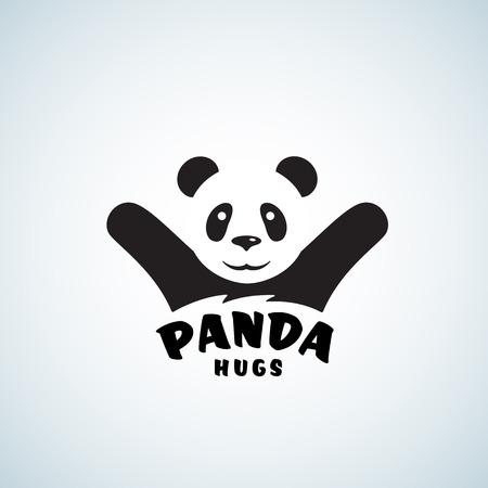 Panda abrazos Resumen Vector emblema o logotipo de la plantilla. Ilustración del oso divertido con el efecto del espacio negativo. Aislado. Logos