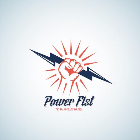 Puño del poder abstracto del vector emblema, símbolo o logotipo de la plantilla. Mano que sostiene el rayo retro silueta con la tipografía. Aislado.
