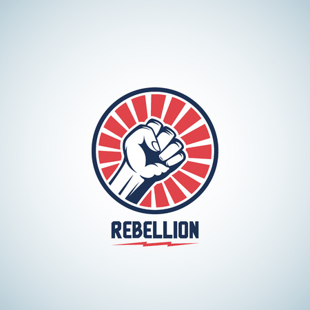 rebellion: Rebellion Fist Symbol. Abstract Vector Emblem or Logo Template. Hand with Rays in a Circle Silhouette. Isolated.