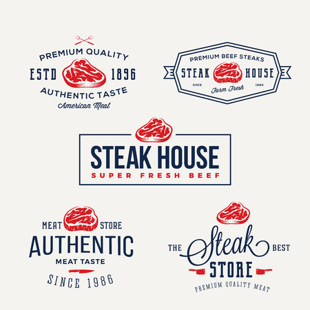 Steak House or Meat Store Vintage Typography Labels, Emblems, Logo Templates. Signs Set. Isolated. Illustration