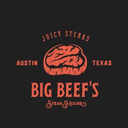 steak beef: Big Beef Steak House Retro Vector Label, Emblem or Logo Template. Vintage Typography and Shabby Texture. Red on Dark Background. Illustration