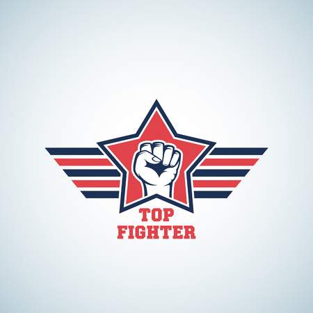 Top Fighter Abstract Vector Sign, Symbol, Icon or Logo Template. Striking Fist in Red Star with Stylized Wings. Isolated. Illustration
