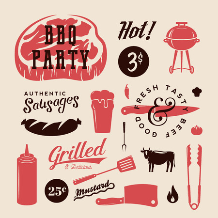 grill meat: Barbecue Party Vector Retro Labels or Symbols. Meat and Beer Icon Typography Pattern. Steak, Sausage, Grill Signs. Isolated. Illustration