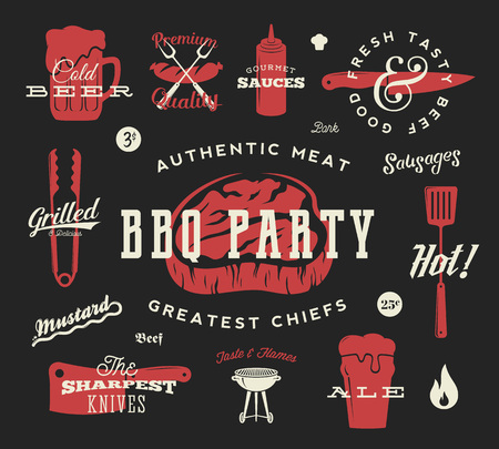 grill meat: Barbecue Party Vector Retro Symbol Set. Meat and Beer Icon Typography Pattern. Steak, Sausage, Grill Signs. Red on Dark Background.