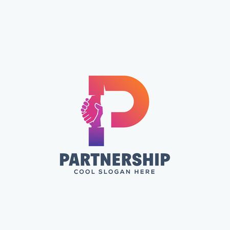Partnerschap Concept. Hand Shake Incorporated in Letter P. Abstract Vector Embleem Of Logo Sjabloon. Geïsoleerd. Stock Illustratie