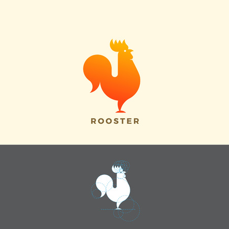 Stylized Rooster Sign, Emblem or Logo Template. Made With Golden Ratio Principles. Isolated. Logo