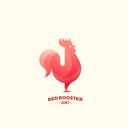 golden ratio: Stylized Red Rooster Sign, Emblem or Logo Template. Made With Golden Ratio Principles. New Year Symbol. Isolated.