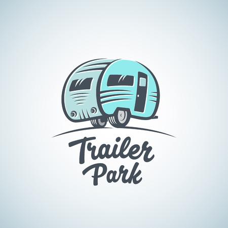 RV, Van lub Trailer Park Vector Logo Template. Sylwetka Turystyka Ikona. Etykieta z retro Typografia. Odosobniony.