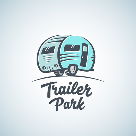 RV, Van or Trailer Park Vector Logo Template. Silhouette Tourism Icon. Label with Retro Typography. Isolated. Vettoriali