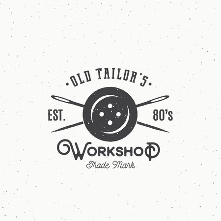clothing label: Old Tailors Workshop Vintage Sewing or Clothing Emblem, Label,  Template. Button and Crossed Needles Symbol Silhouette with Retro Shabby Texture. Isolated.