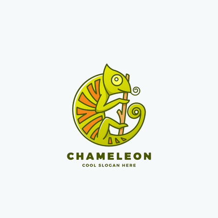 branch isolated: Chameleon on the Branch in a Circle Shape. Abstract Vector Line Style Sign, Emblem or Logo Template. Reptile Symbol. Isolated. Illustration