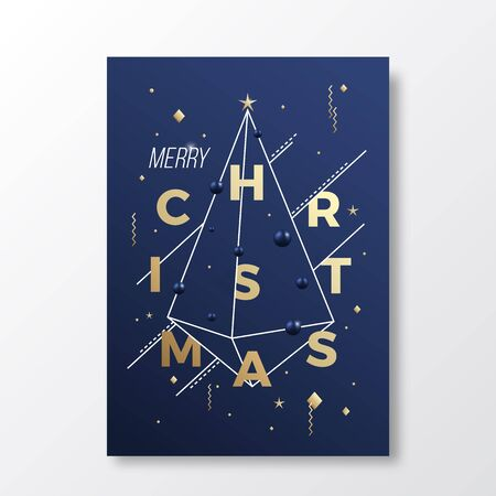 soft colors: Merry Christmas Abstract Vector Minimalistic Geometry Poster, Card or Background. Dark Blue and Gold Colors, Modern Typography, Soft Realistic Shadows. Isolated.